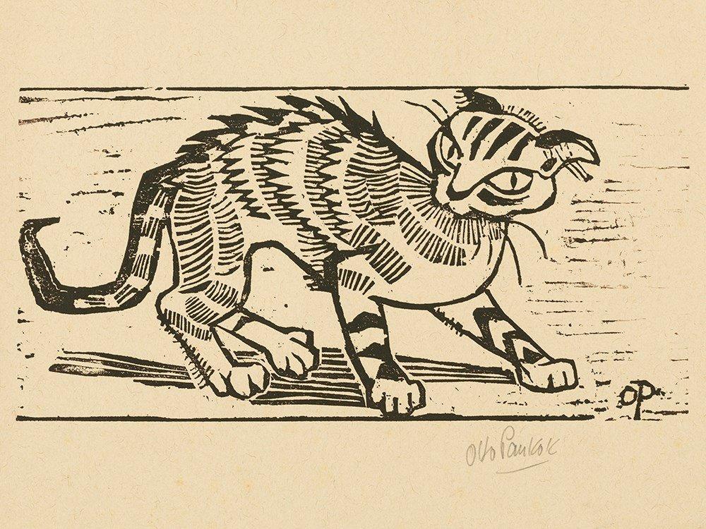 Otto Pankok, Katze, Woodcut, 1947