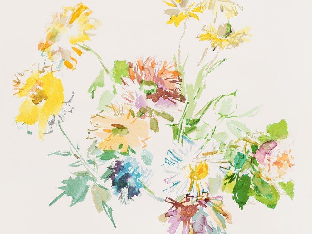 Oskar Kokoschka, Herbstblumen, Color Lithograph, 1975