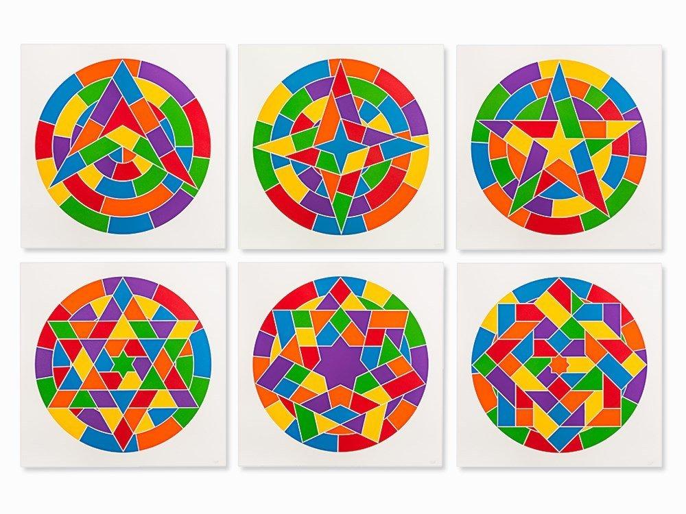 Sol LeWitt, Stars, Complete Set of 6 Linocuts, 2002