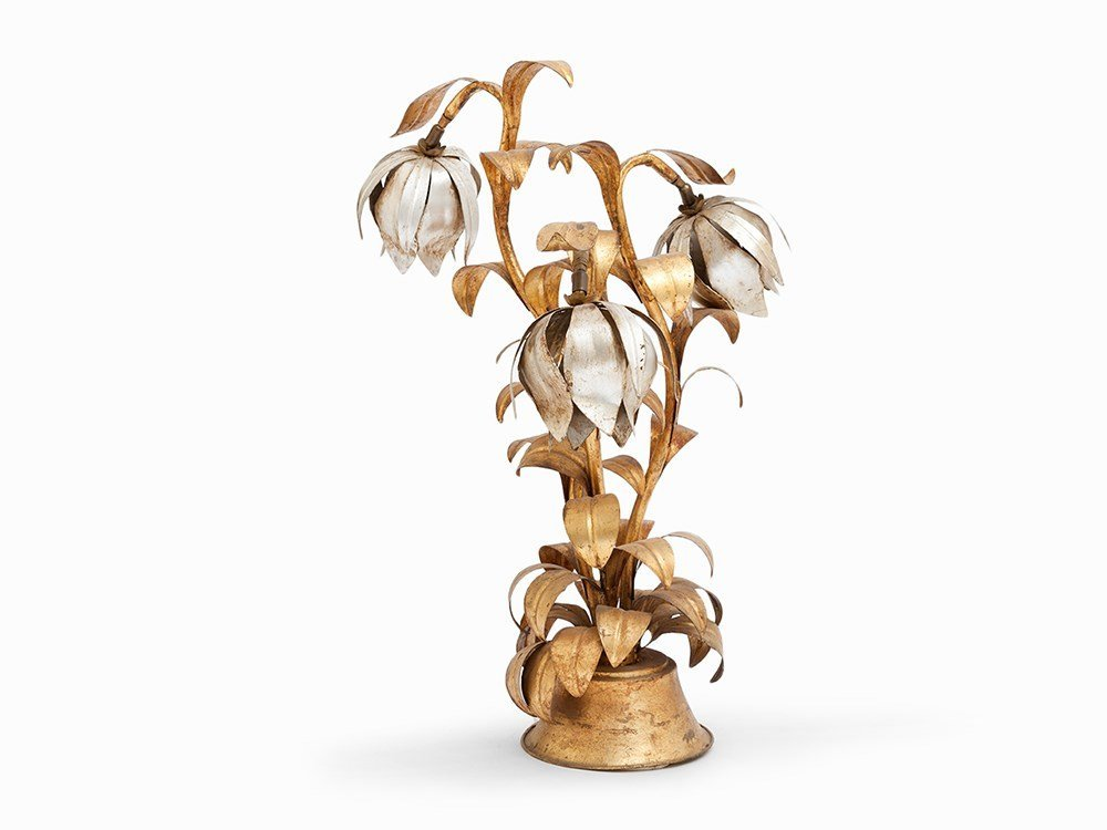 Leaf-Gilded Lamp with Blossoms, France, around 1940