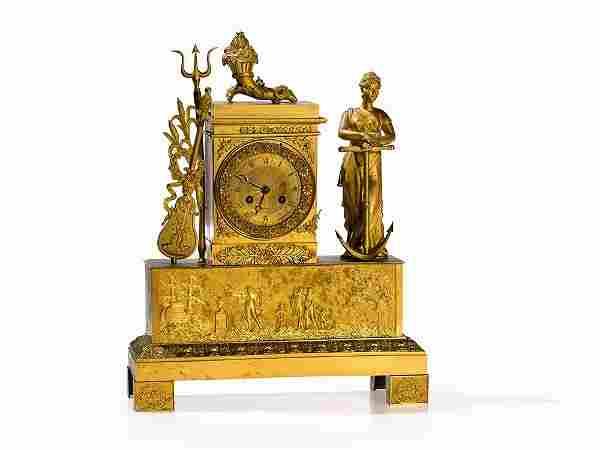 A Figural Empire Pendulum Clock with 'Annona', France,