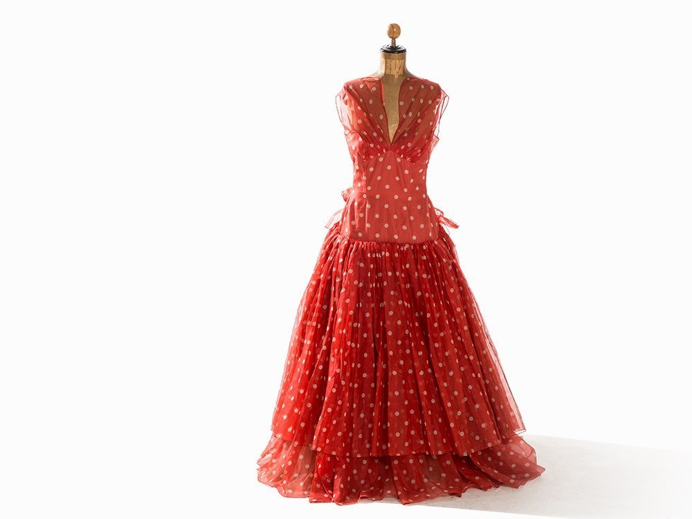 Madame Grès, Red & White Spotted Evening Dress, France,