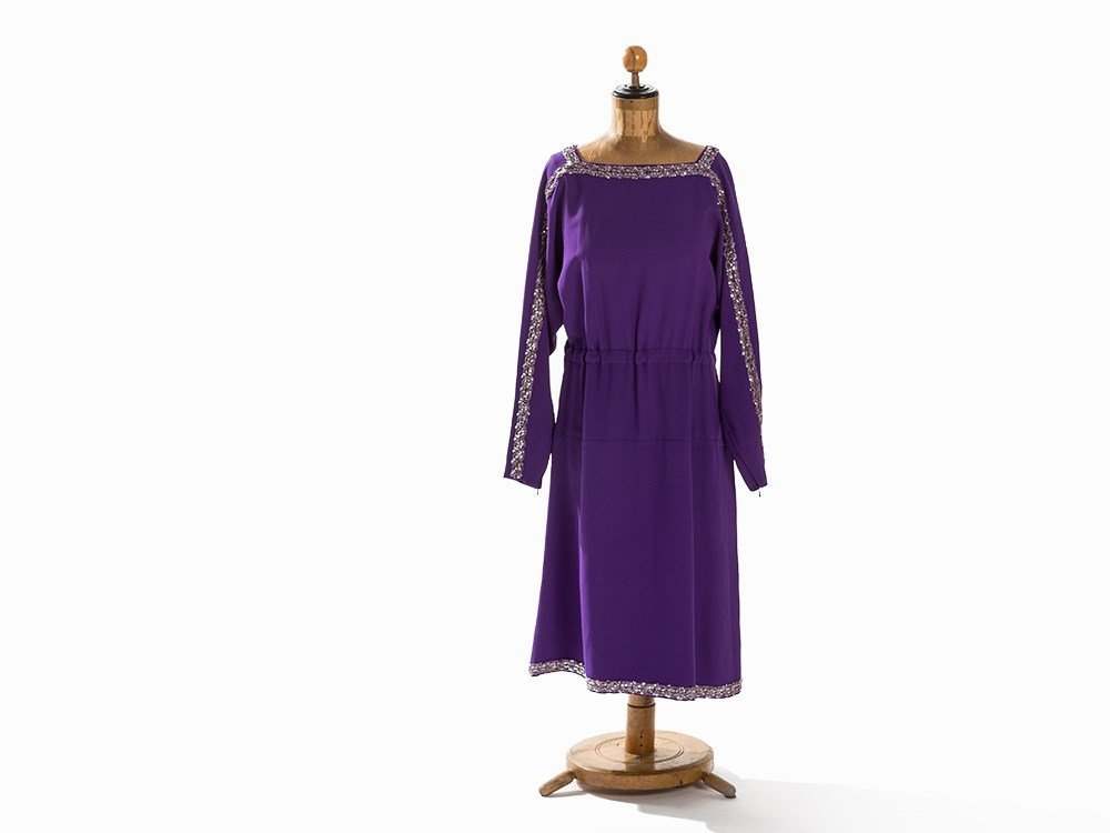 Madame Grès, Lavender Tunic Dress with Sequins, France,