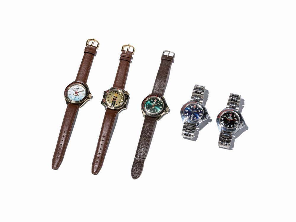 Five Russian Wristwatches, c. 1970-1990