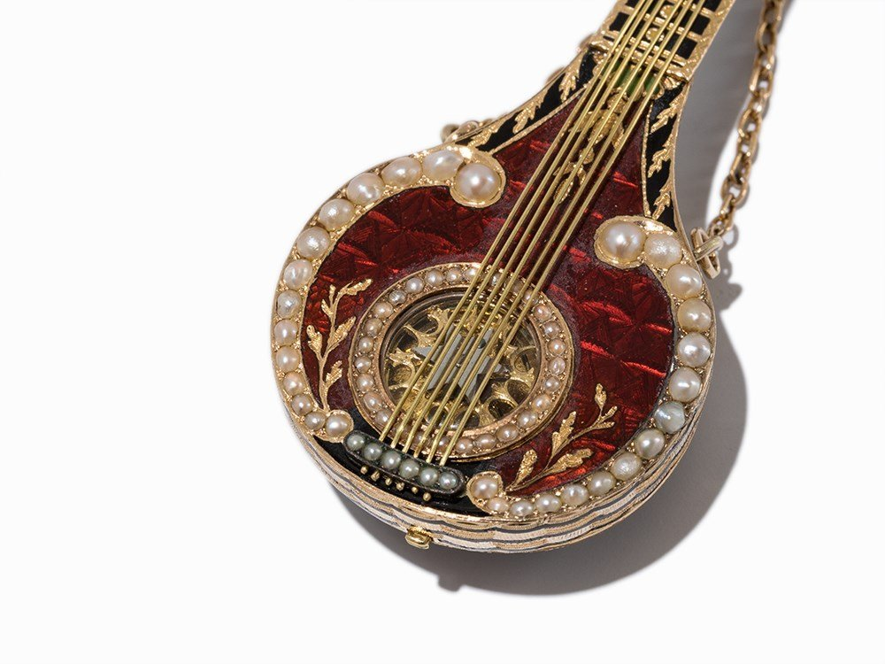 Exquisite Gold Mandolin Watch as Pendant, c. 1850 - 4
