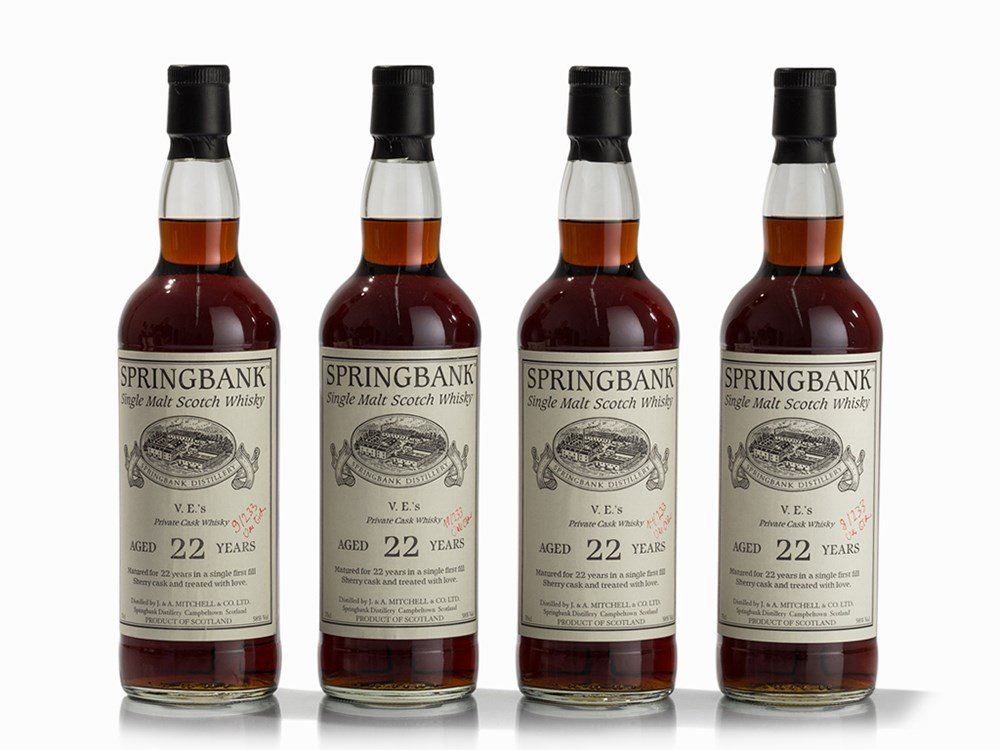 4 Bottles NV Springbank 22 Year Old Private Cask Single