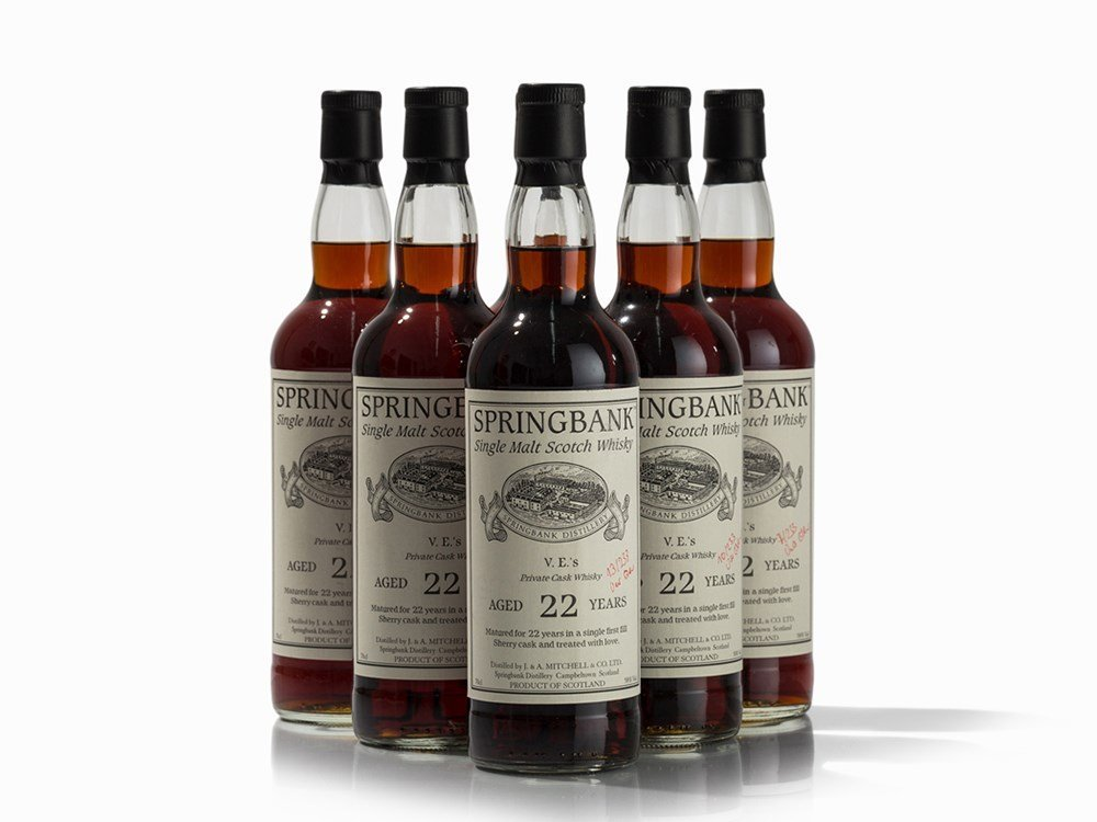 6 Bottles NV Springbank 22 Year Old Private Cask Single