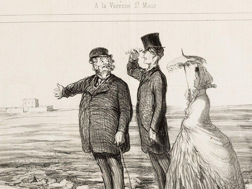 Honor Daumier, A la Varenne-Saint-Maur, Lithograph,