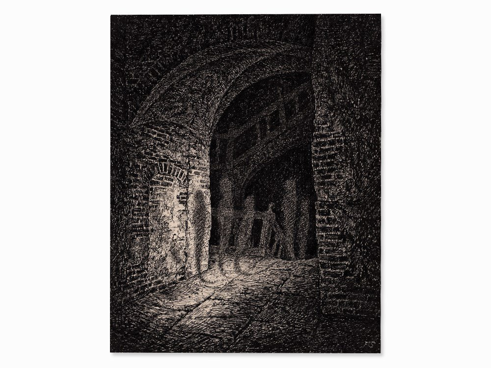 Fritz Schwimbeck, The Shadows, Pen-and-Ink Drawing,