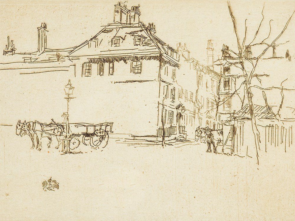 James McNeill Whistler, Temple, Etching, circa 1881