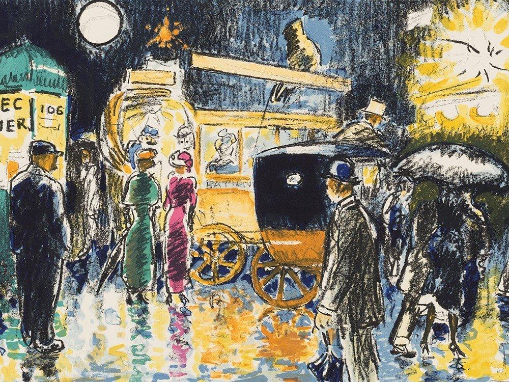 Kees van Dongen, Place Pigalle la nuit, Lithograph,