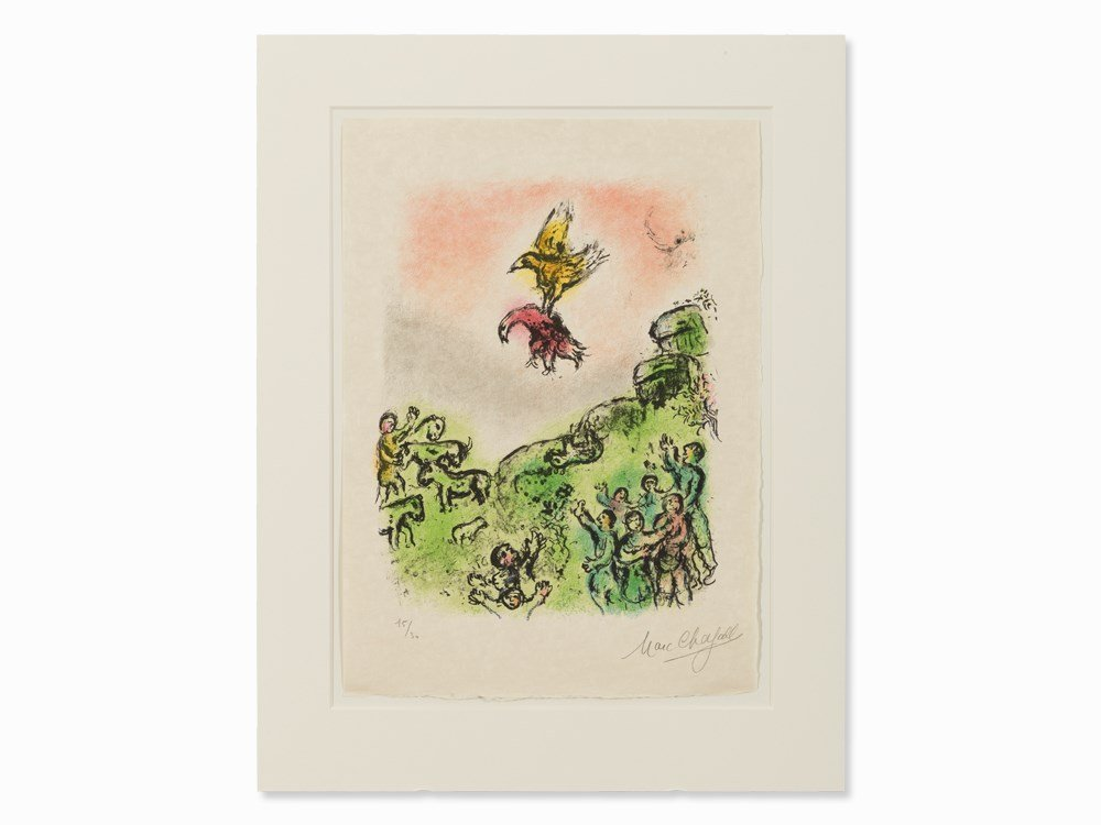 Marc Chagall, Das Vorzeichen, Color Lithograph, 1975