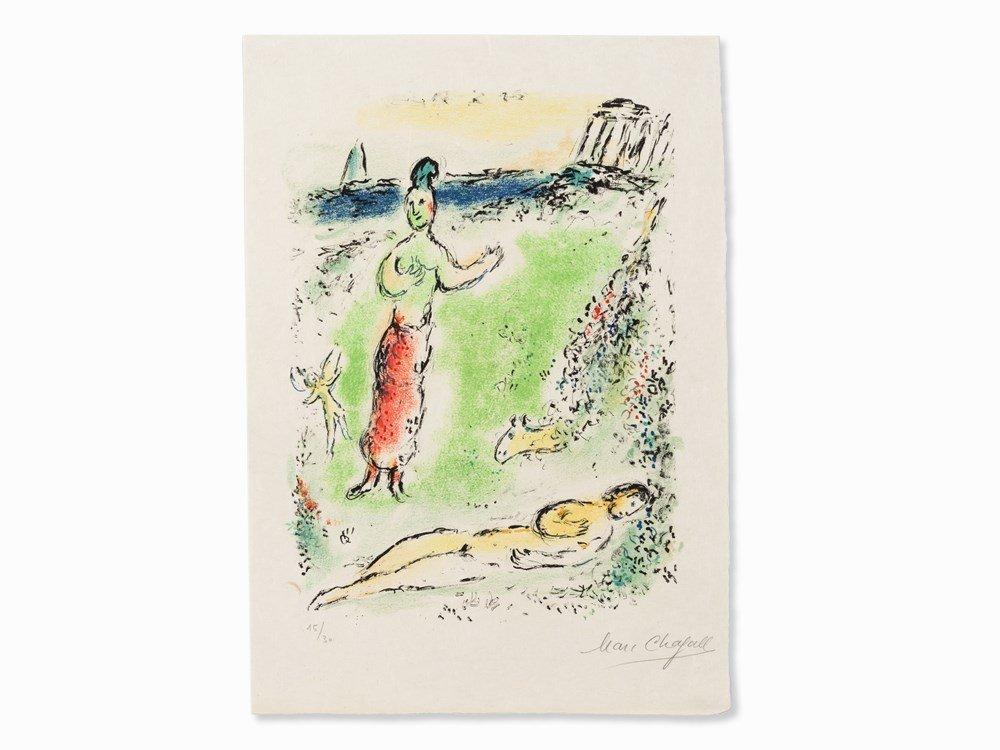 Marc Chagall, Athene senkt Odysseus, Color Lithograph,