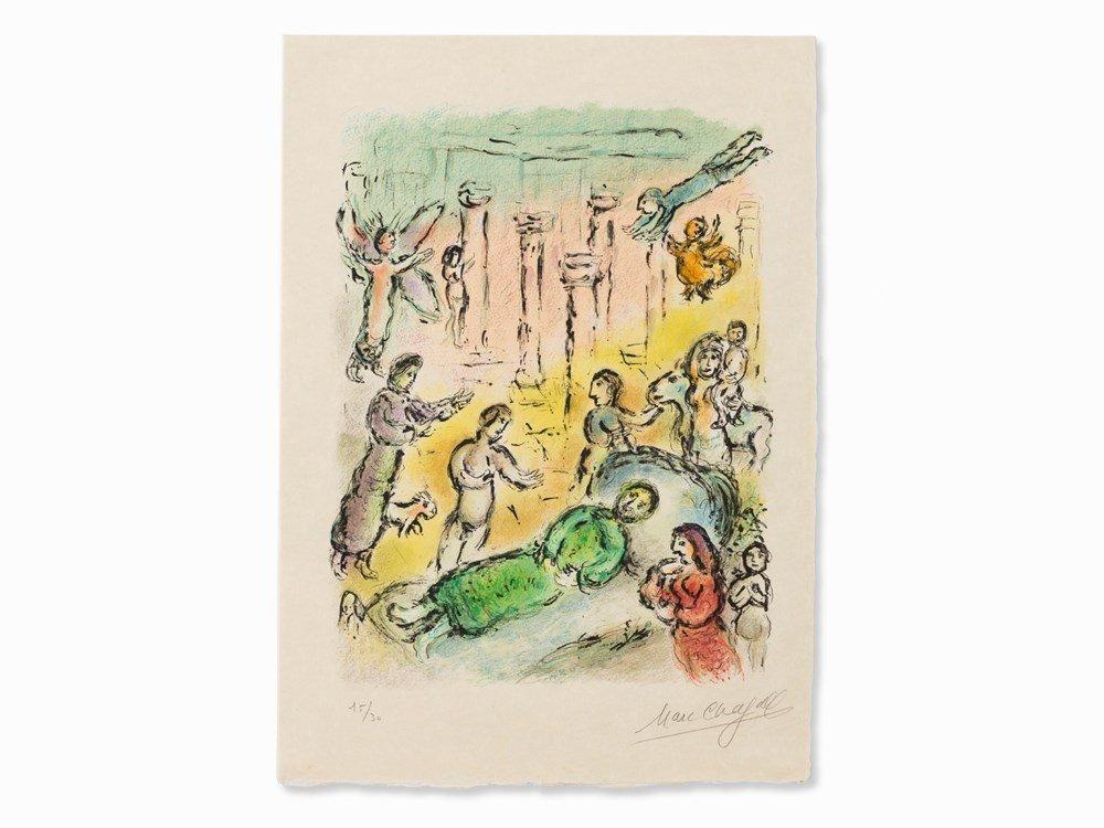 Marc Chagall, Das Bett des Odysseus, Color Lithograph,
