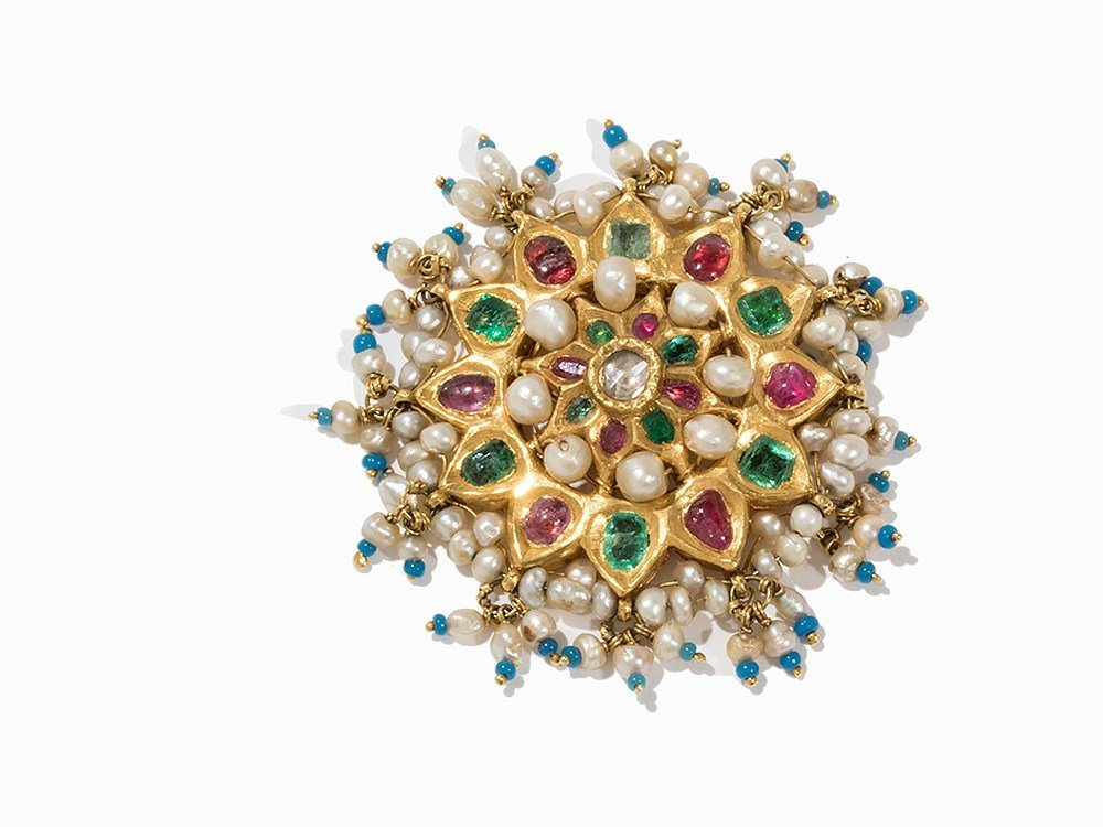Mughal Gem-Set Star-shaped Brooch, India, 19th C.