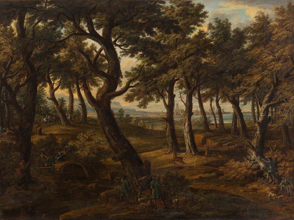 Jacob C. Weyermann (1698-1757), Deer Hunting, Oil, 18th