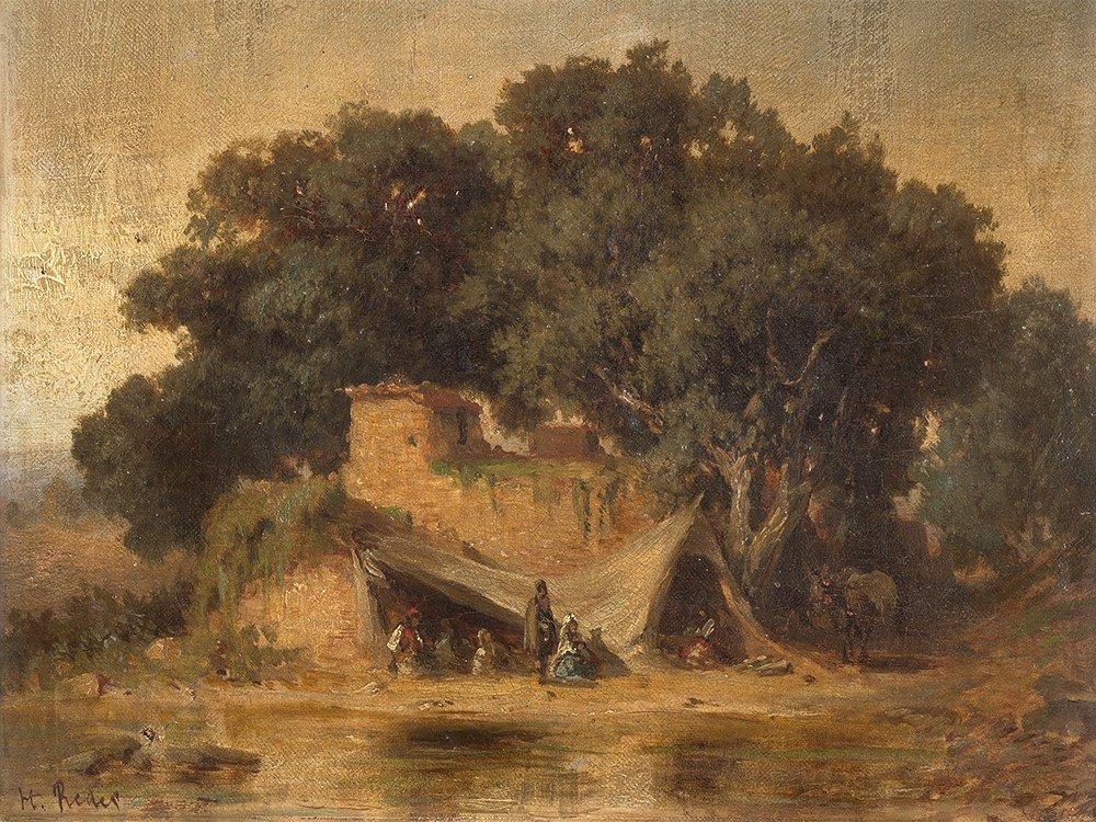 Heinrich v. Reder (1824-1909), Landscape with figures,