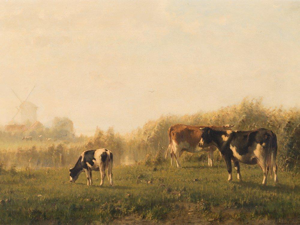 Cornelis I Westerbeek (1844-1903), Grazing Cows, Oil,