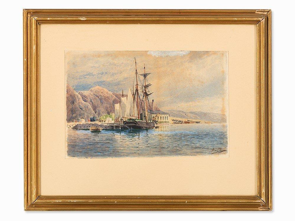 Jakob Hägg (1839-1931), Coastal Landscape, Watercolor,