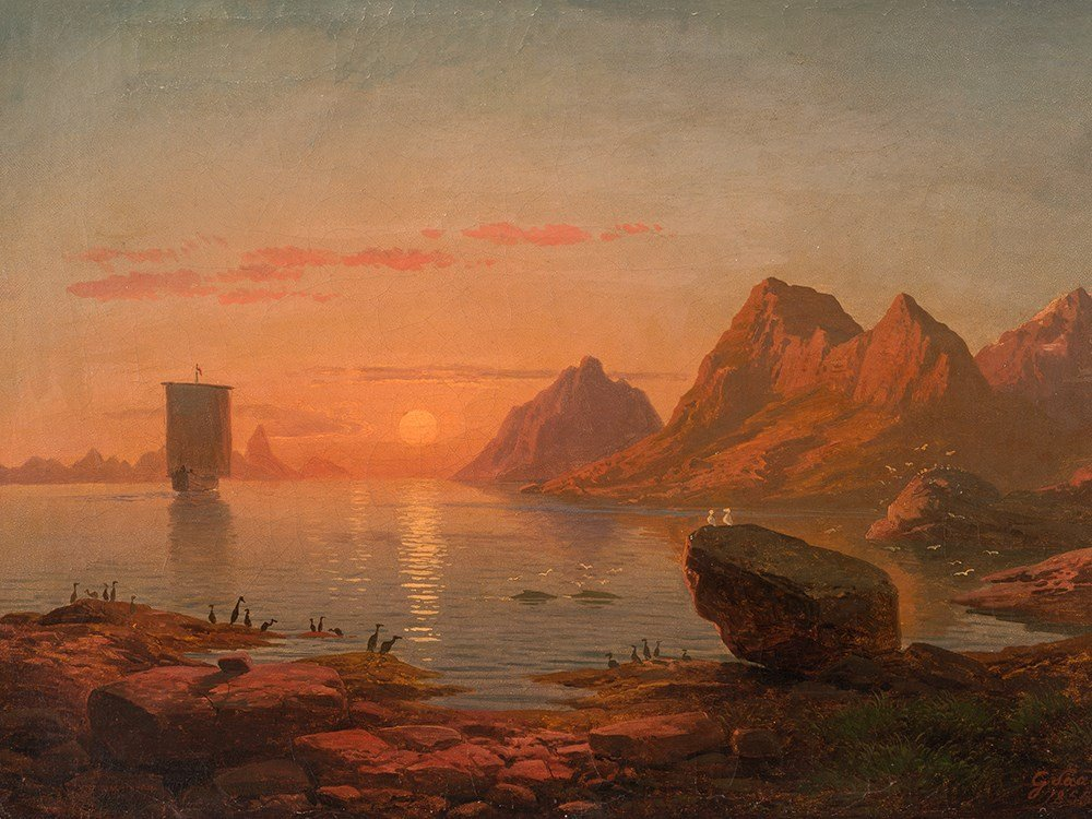 Georg Saal (1817 – 1870), Sunset at Fjord, Oil, 1855