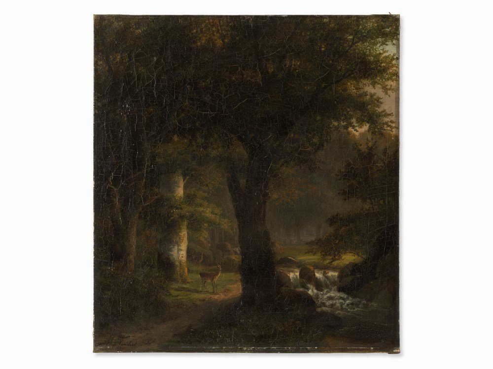 Anna van Sandick (1818-1904), Forest Glade with Deer,