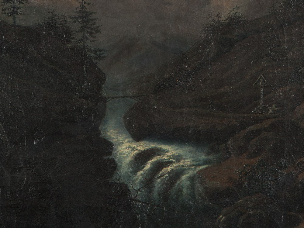 Oil Painting 'Mountainscape at Full Moon', 19th Century