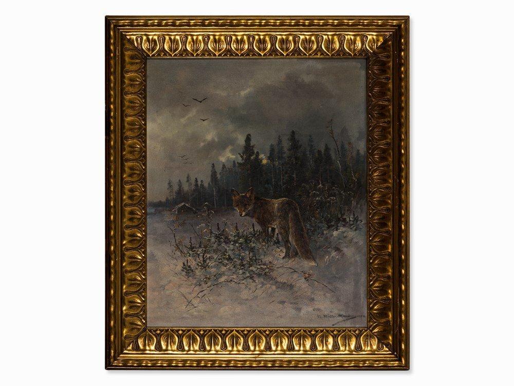Moritz Müller, Painting, Fox in Winter Landscape,