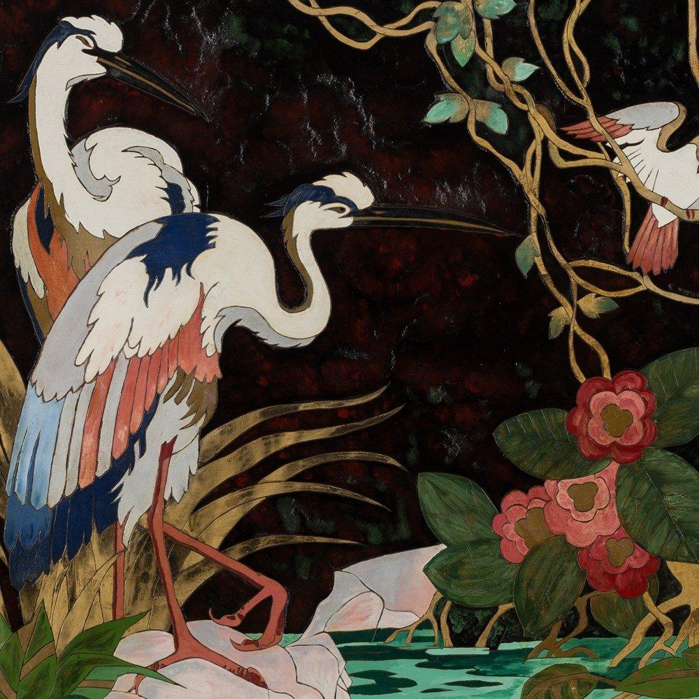 Gaston Priou Attrib., Landscape with Birds, Lacquer - 10