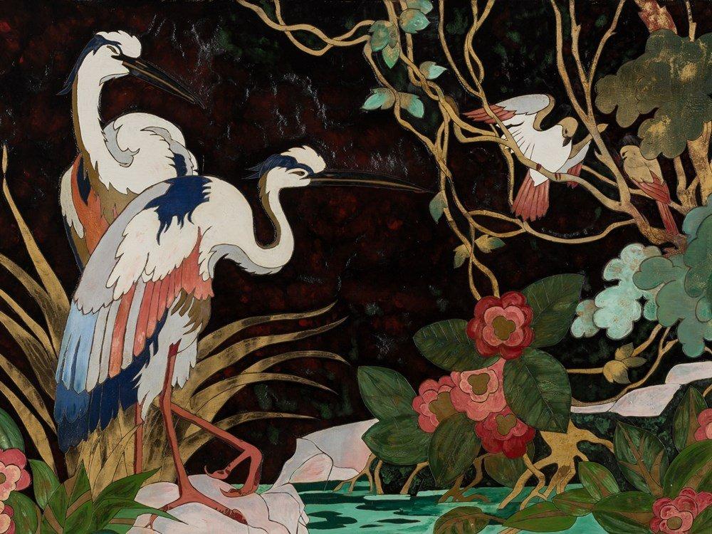 Gaston Priou Attrib., Landscape with Birds, Lacquer