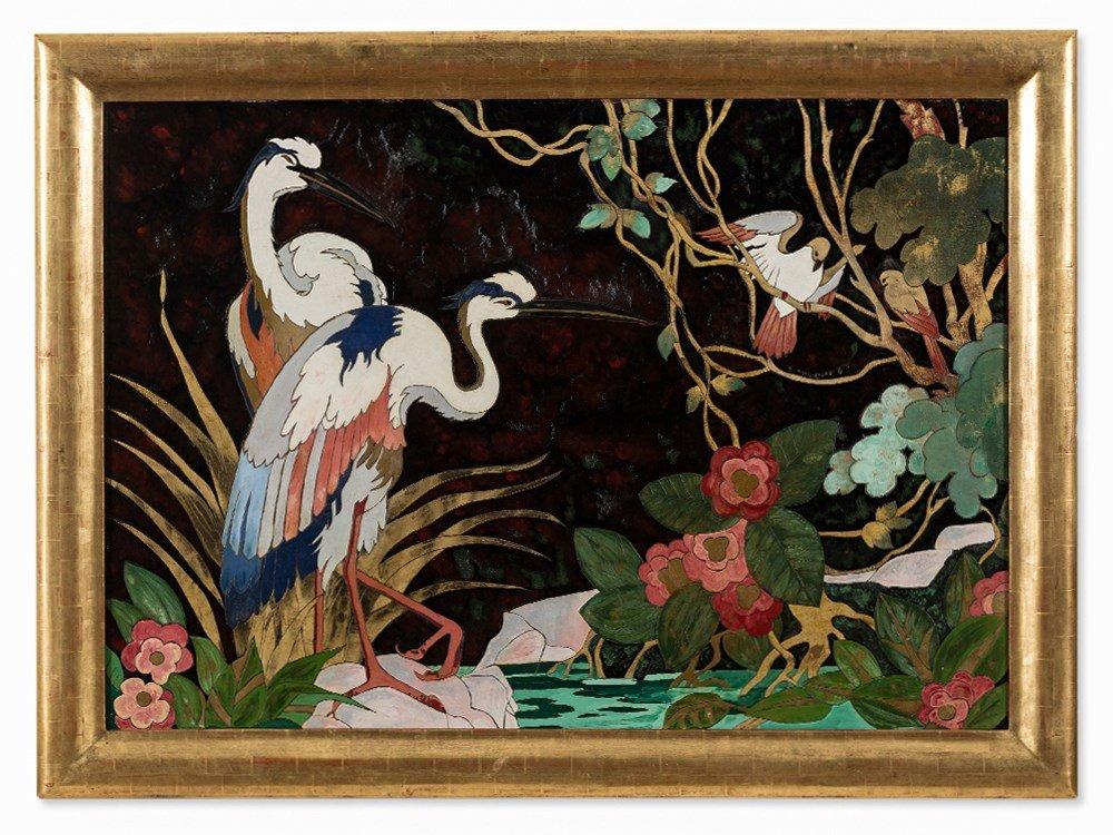 Gaston Priou Attrib., Landscape with Birds, Lacquer - 2