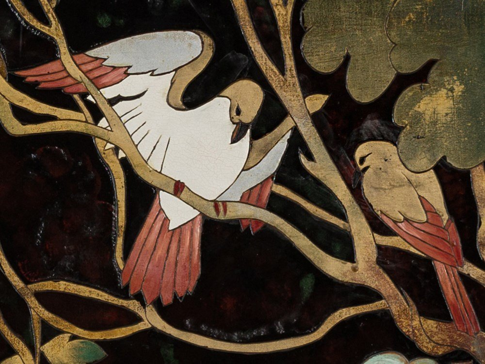 Gaston Priou Attrib., Landscape with Birds, Lacquer - 5