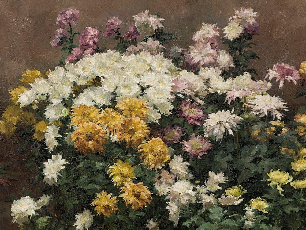 Angelina Drumaux (1881-1959), Chrysanthmes en fleurs,