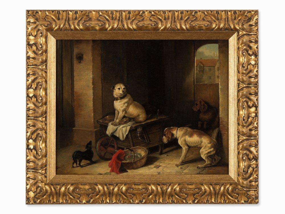Jan Mortel (1906-?), Four Dogs, Oil on Wood, Europe,
