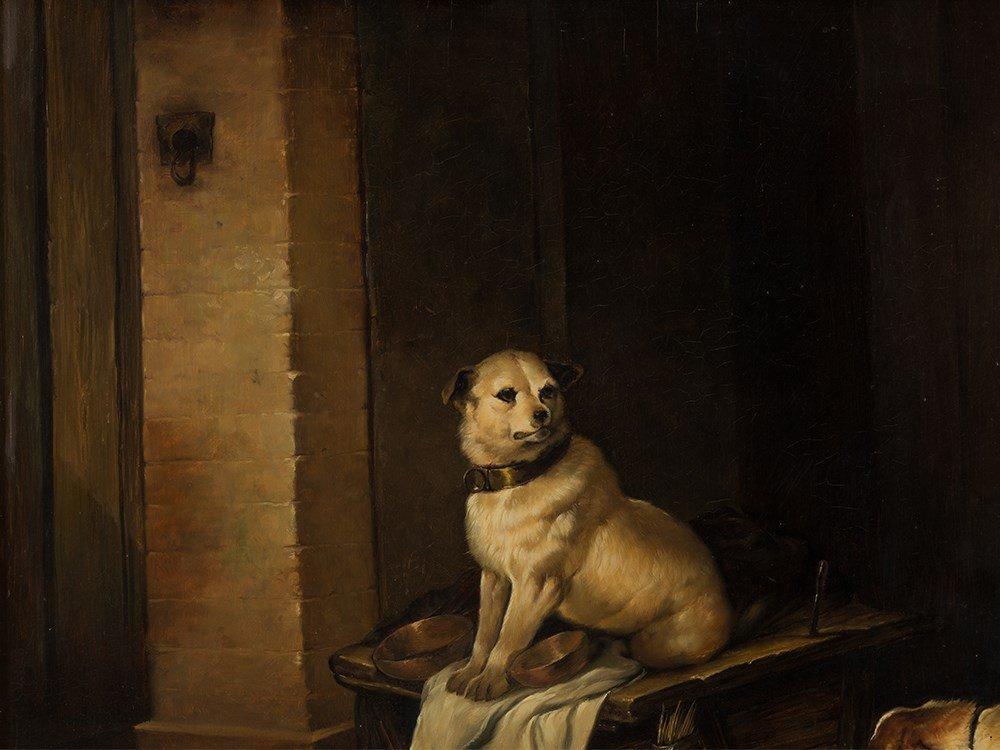 Jan Mortel (1906-?), Four Dogs, Oil on Wood, Europe, - 2
