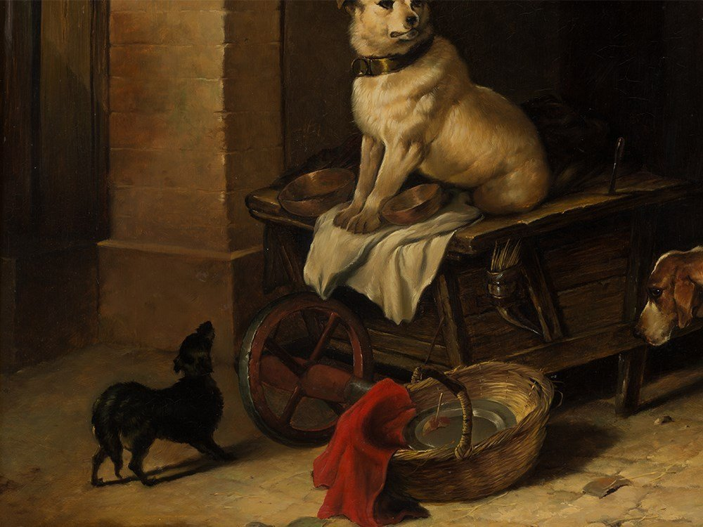 Jan Mortel (1906-?), Four Dogs, Oil on Wood, Europe, - 4