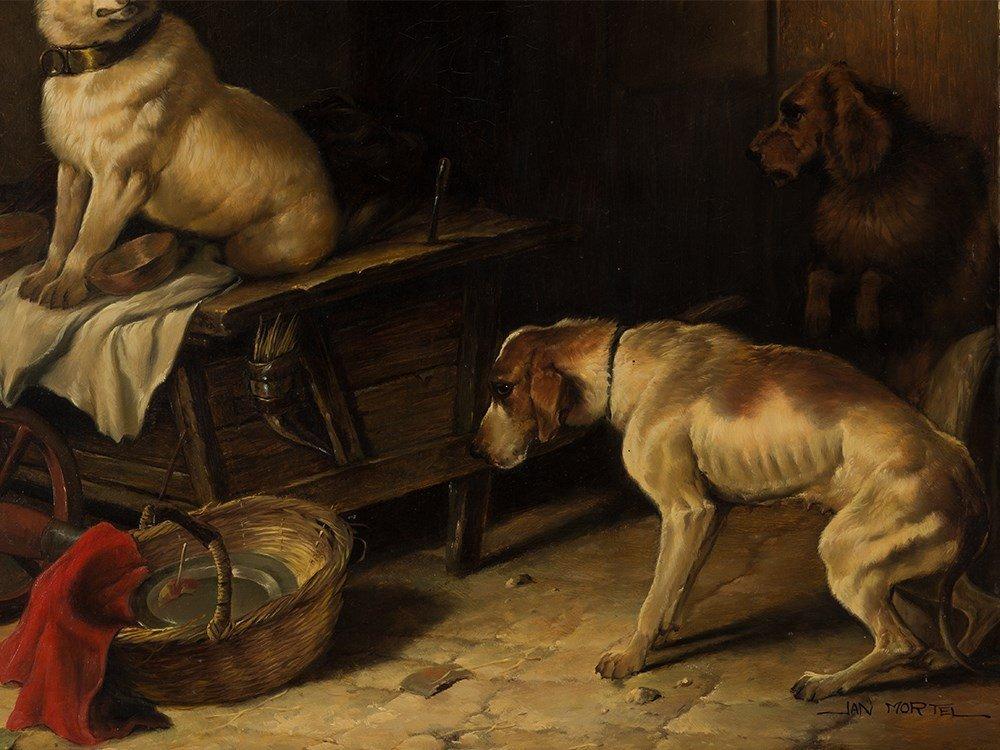 Jan Mortel (1906-?), Four Dogs, Oil on Wood, Europe, - 5