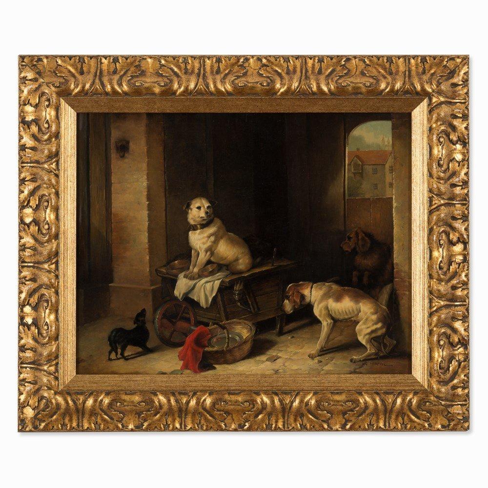 Jan Mortel (1906-?), Four Dogs, Oil on Wood, Europe, - 8