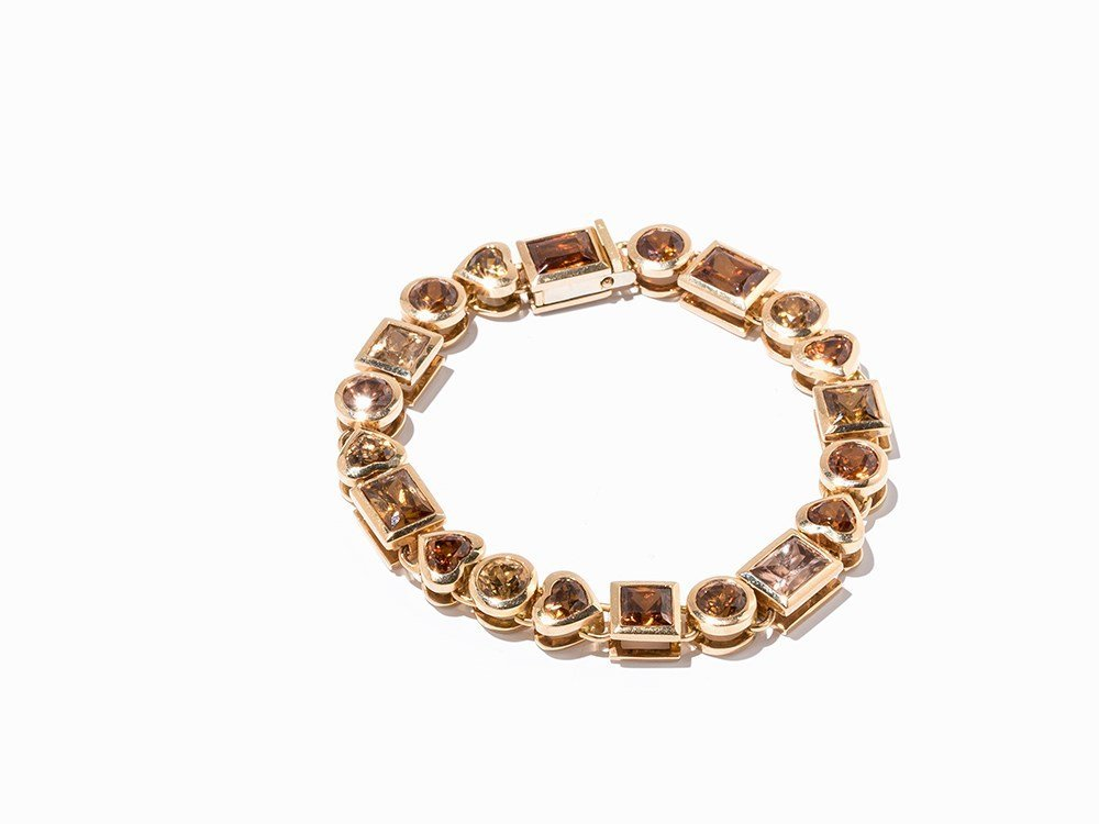 18K Gold Bracelet with 20 Zircons in Various Cuts and