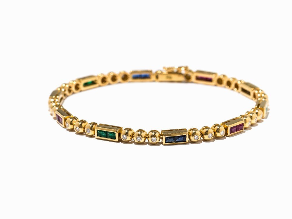 Bracelet with Rubies, Sapphires, Emeralds and Diamonds,