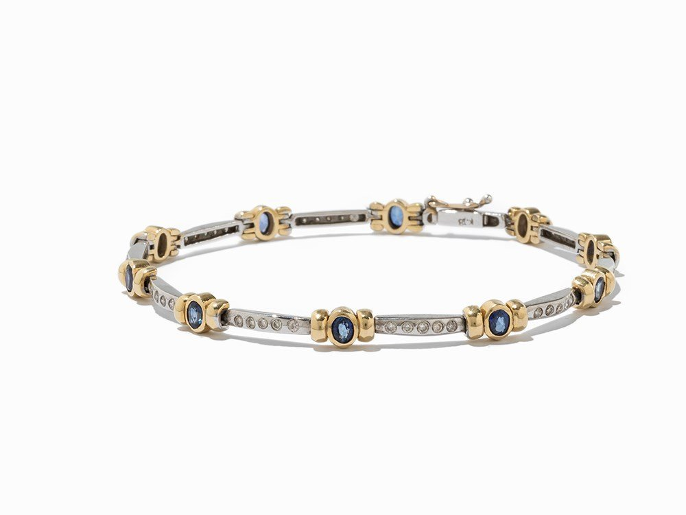 Diamond and Sapphire Bracelet, 14K Gold, c. 2.3 Ct.