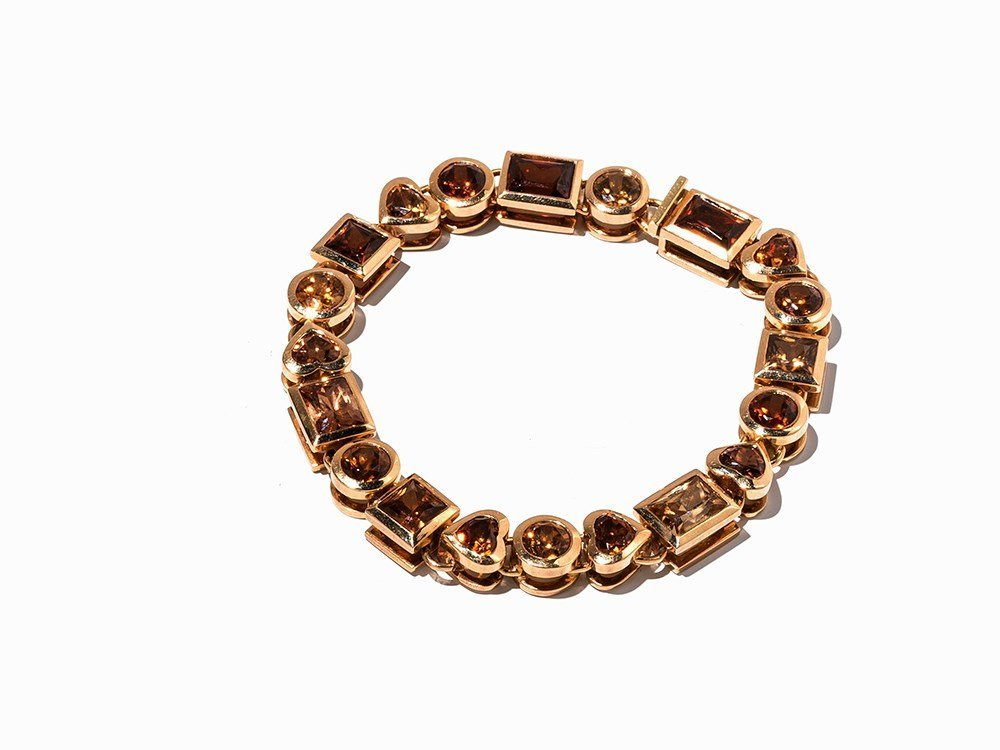 18K Gold Bracelet with 20 Brown Zircons in Various Cuts