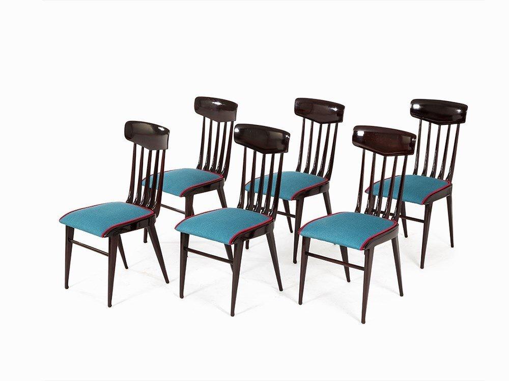 6 Mahogany Dining Chairs, Italy, 1950s
