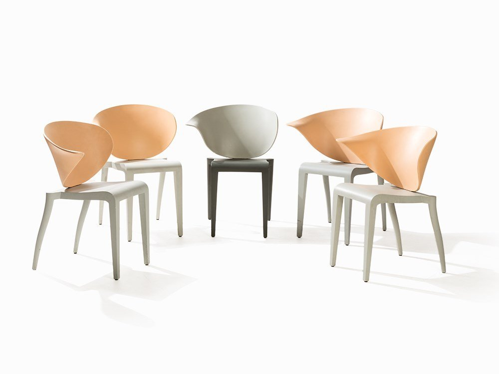 Philippe Starck, 5 Chairs 'Boom Rang', Draide, France,