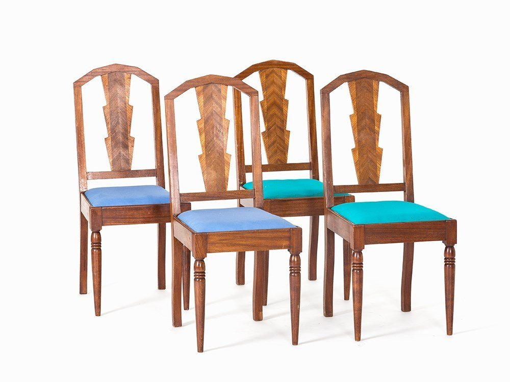 A Set of 4 Art Deco Chairs, Presumably Belgium, 1930s