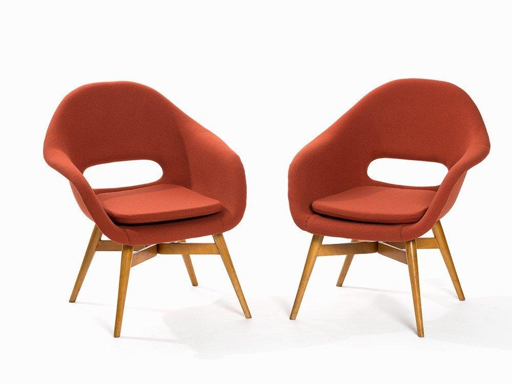 Tatra, A Pair of Red 'Shell Chairs', František Jirák,