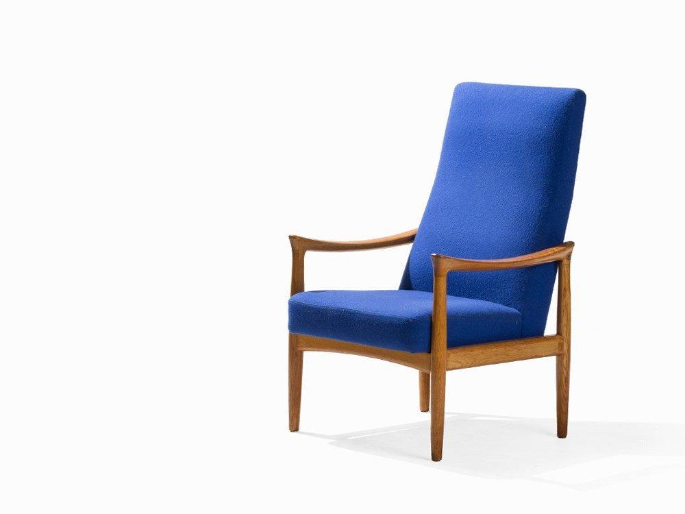 Fritz Hansen, Blue Armchair, Denmark, 1960s