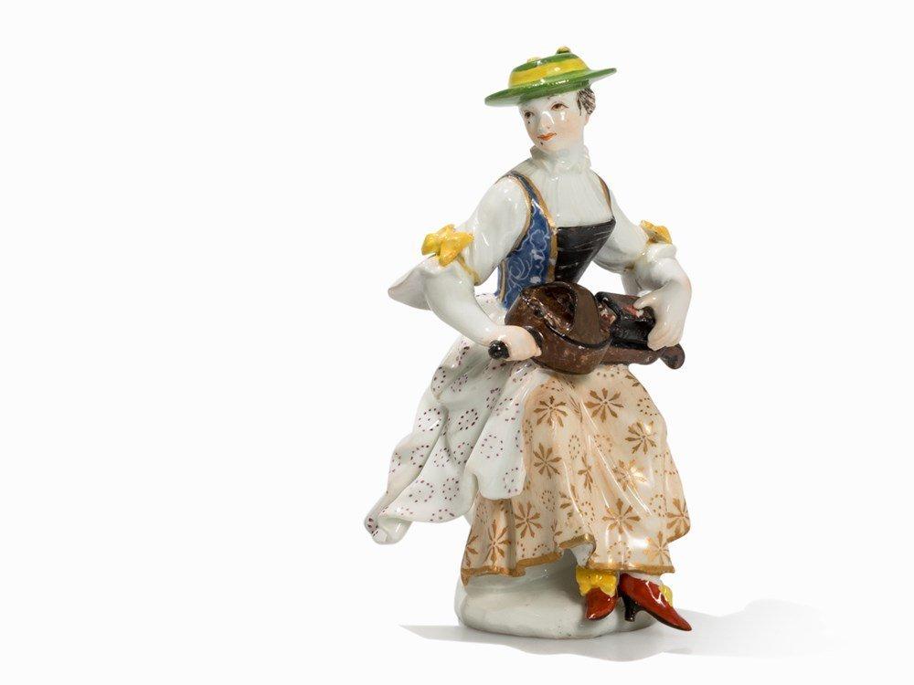 Meissen, Figurine 'Columbine mit Drehleier', 2nd H.
