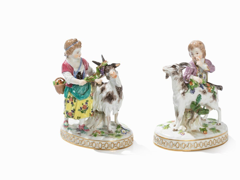 Meissen, Girl with He-Goat & Boy With Goat, after 1934