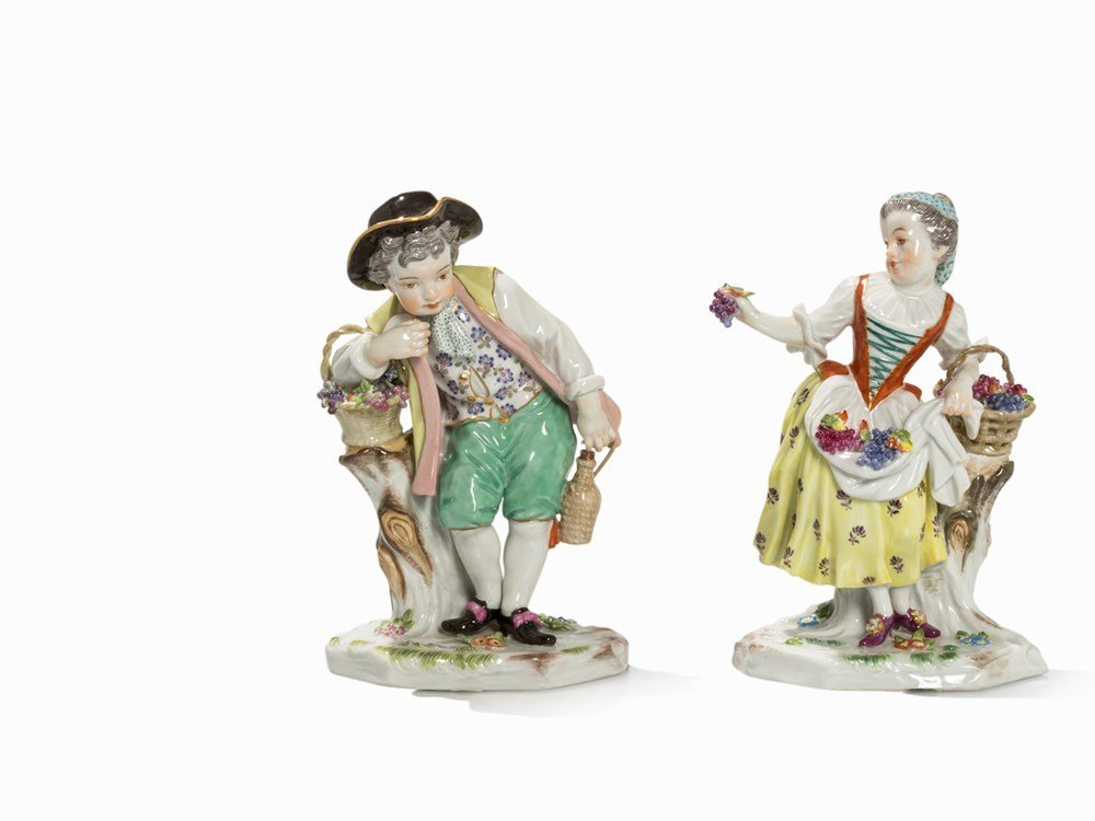 Meissen, Vintner Girl and Vintner Boy, Porcelain, 1960