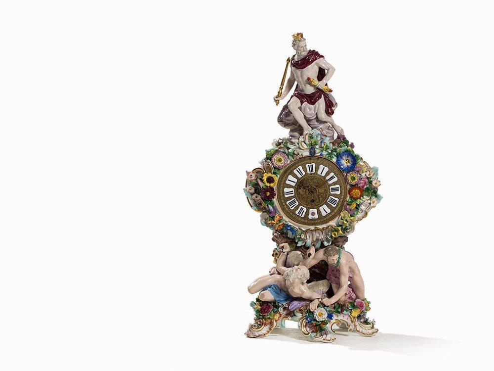 Meissen, Mantel Clock with Zeus, Chronos and